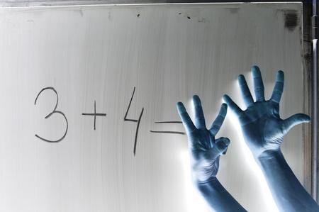 Shaded hands symbolize wrong answer on mathematic formula photo