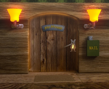house mouse: Isolated view on mister mouse home wooden door