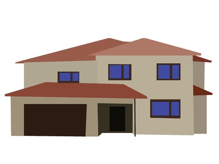 Vector image of two floored house with garage Vector