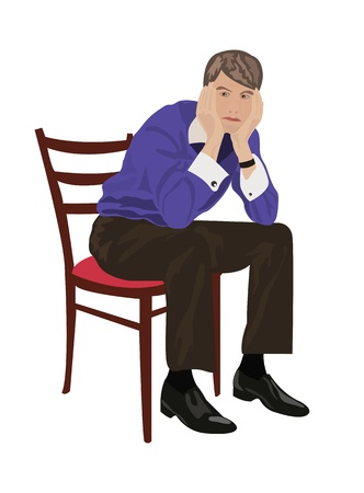 bored: Man sitting on chair and thinking about something
