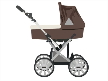 zoomed: Zoomed baby stroller vector image on white background