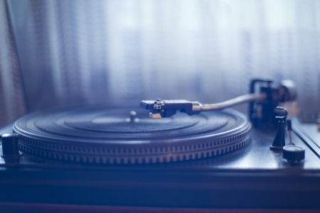 Direct wiew of vinyl player waiting its wise user