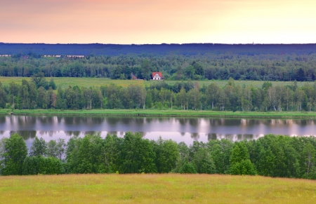 the other side: Farm is seen on other side of river