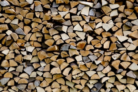 Woodpile are stacked from differen kind wood types photo