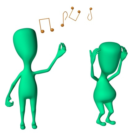 irritate: Two green 3d puppets mimicking singing and irritate Stock Photo