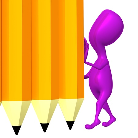 Pink 3d puppet hold yellow wall from pencils photo
