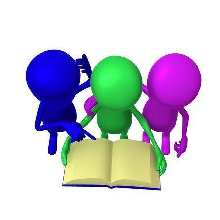 Over view three 3d puppets reading blue book photo