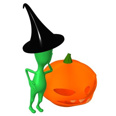 relies: Puppy with black hat relies on orange pupkin