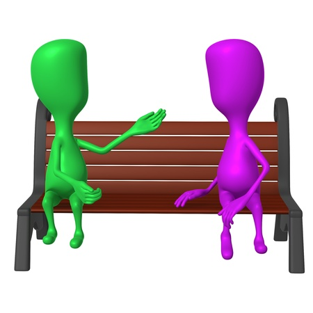 inclusive: Front view puppet on bench keeping inclusive conversation