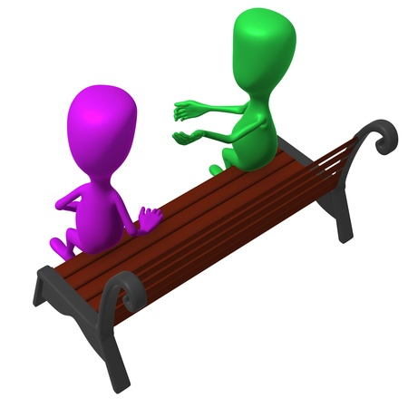 inclusive: Over view puppet on bench keeping inclusive conversation