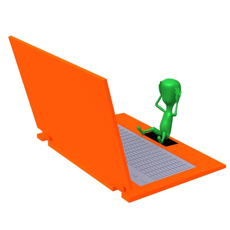 Angle view troubled puppet holding head after laptop photo