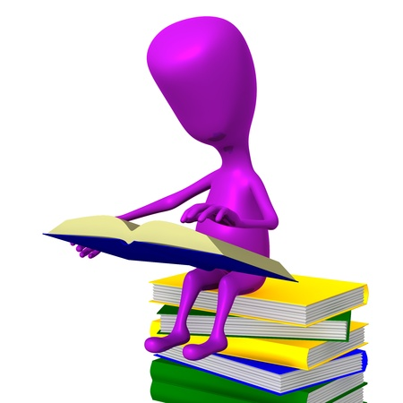 studing: Angle view puppet reading book on books column Stock Photo