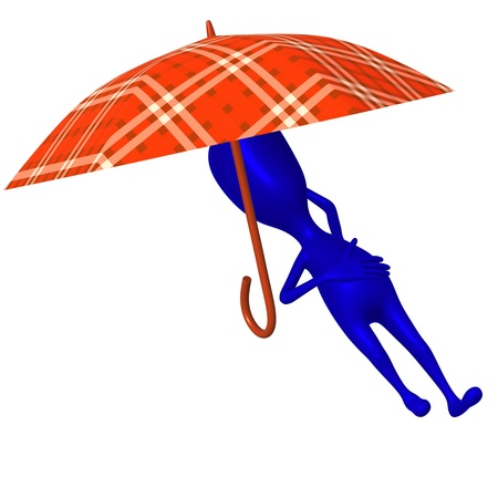 nicely: Over view puppet sleep under umbrella very nicely