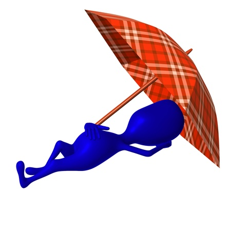 nicely: Side view puppet sleep under umbrella very nicely