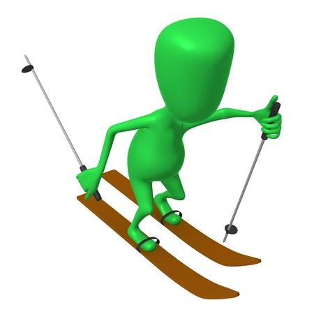 Over view green puppet ski on white snow Stock Photo - 16424155