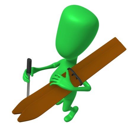 Over view green puppet with skis on shoulder Stock Photo - 16424163