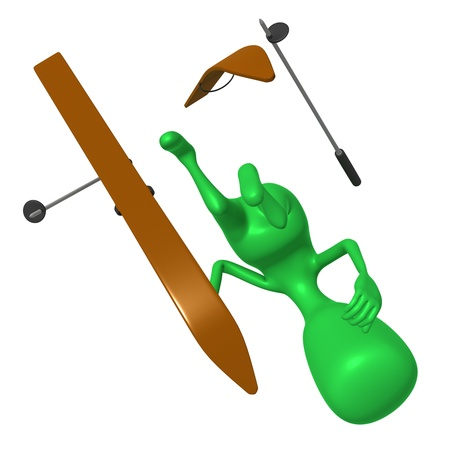Under view green puppet craching on ski gliding Stock Photo - 16424151
