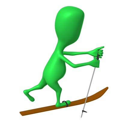 Side view green puppet ski with one leg Stock Photo - 16424088