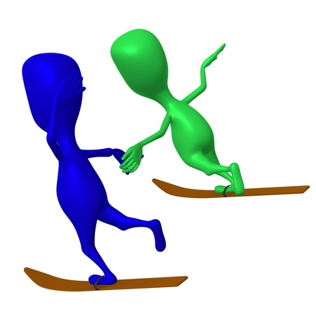 Side view puppets glide on one ski both Stock Photo - 16424134