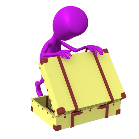 Side view puppet looking in squary suitcase dumply Stock Photo - 16611790