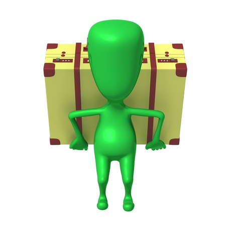 Front view puppet carry suitcase on his back Stock Photo - 16611808