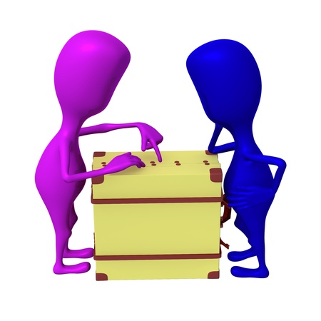 Side view puppets discuss over package in suitcase Stock Photo - 16611867