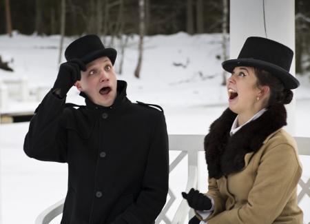 unpredictable: Man and woman surprise when somethink happened unpredictable Stock Photo