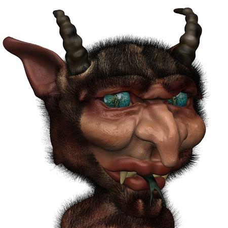 persona confundida: Demonio de aspecto extra�o parece estar confundido s�tiro Foto de archivo