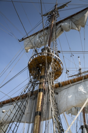 High mast of old and beatiful sailing ship photo