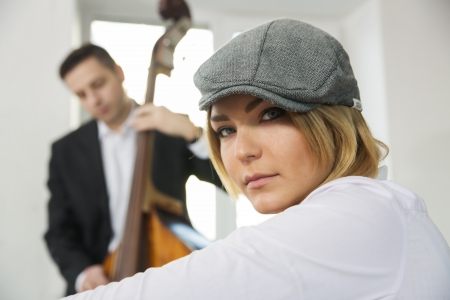 Pair of musicians wait their turn to showcase photo