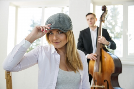 beatiful: Beatiful woman at sunny day with grey hat