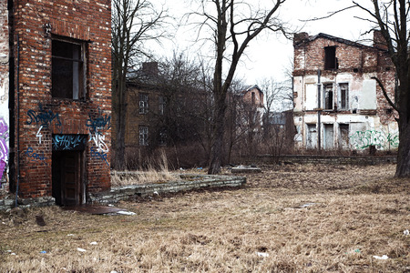 Landscape of an abandoned village ruined houses Stock Photo