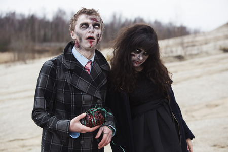 first date: A zombie couple on their first date Stock Photo