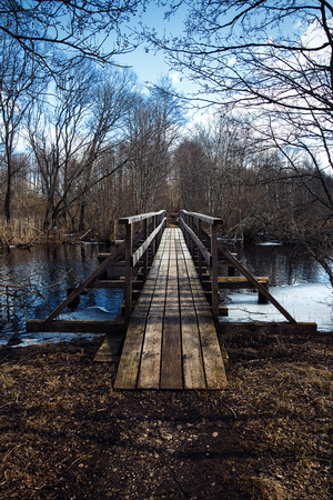 ramble: Woodem bridge over the cold forest river