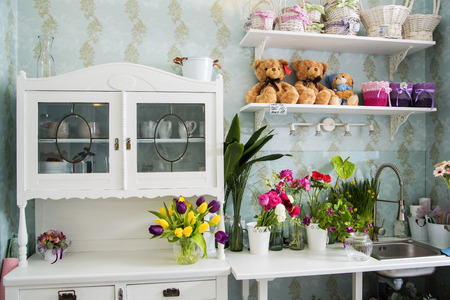 The indoors decoration with the flower boquets photo