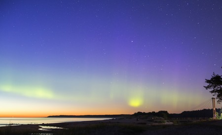 protons: Seaside aurora borealis in the early evening