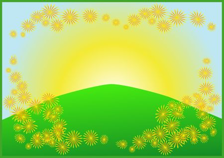 frame with sunrise, blue sky, green meadow, flower Stock Photo - 3463749