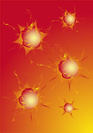 diameter: Abstract sfondo di colore rosso-giallo con sfere di diverso diametro Vettoriali