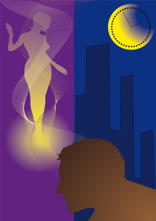 fondness: male silhouette on background of the night city dreams of fondness