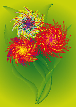 flowerses: flowerses red and yellow colour with sheet on green background