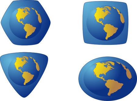 polyhedron: icono del color azul de las diferentes formas con la imagen del mundo