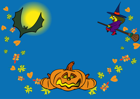 denoted: blue background with folklore personage denoted dedicated holiday halloween