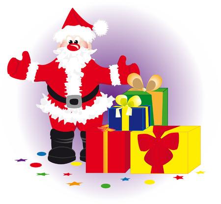klaus: Santa Klaus stands near by gift to chrismas Illustration