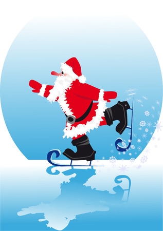 Santa in skating rink ice-skate on smooth ice  Stock Vector - 3962324