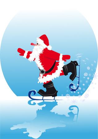 skating rink: Santa in skating rink ice-skate on smooth ice