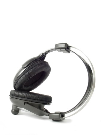 aural: earphones black with gray of the colour on white background Stock Photo