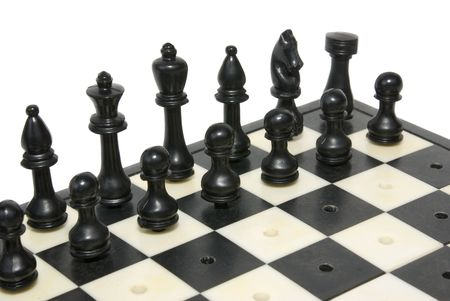 figures chess  on plank insulated on white background Stock Photo - 4772597