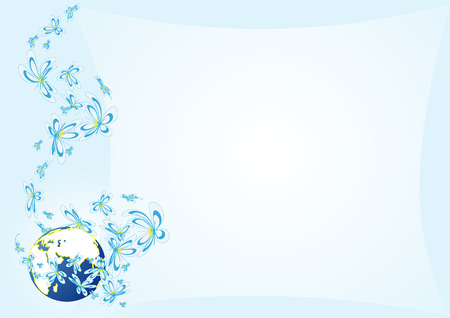 flowerses: blue background with flowerses daisywheel and globes