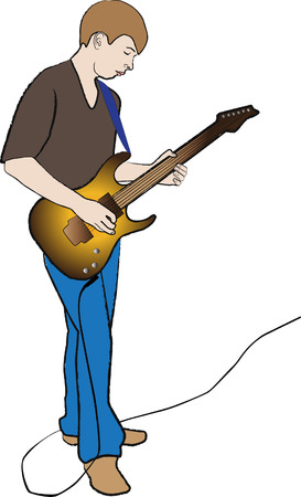 lad: on white background,  lad keep electric guitar in hand