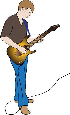 lad: sobre fondo blanco, chaval mantener guitarra el�ctrica en mano